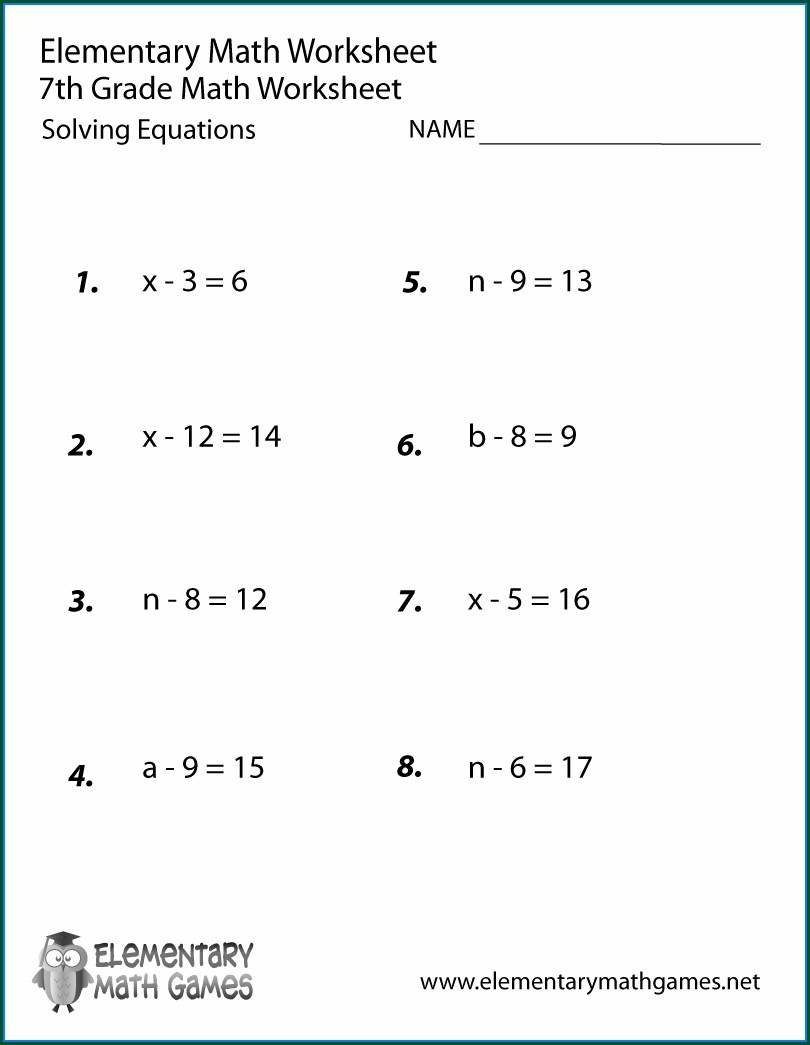Algebra Seventh Grade 7th Grade Math Worksheets