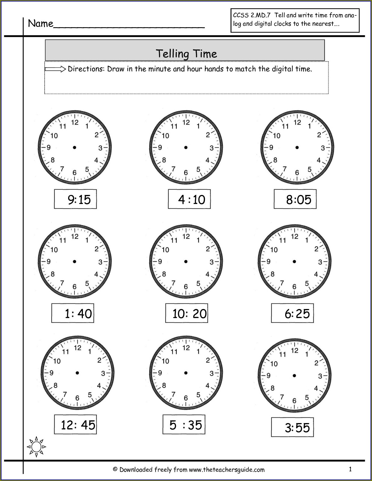 Analog To Digital Time Worksheets