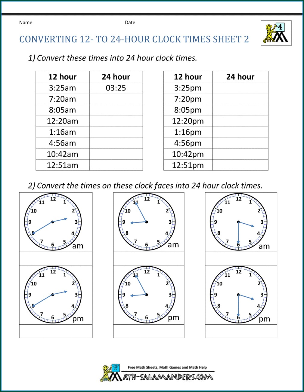Analogue And Digital Time Worksheet Year 3