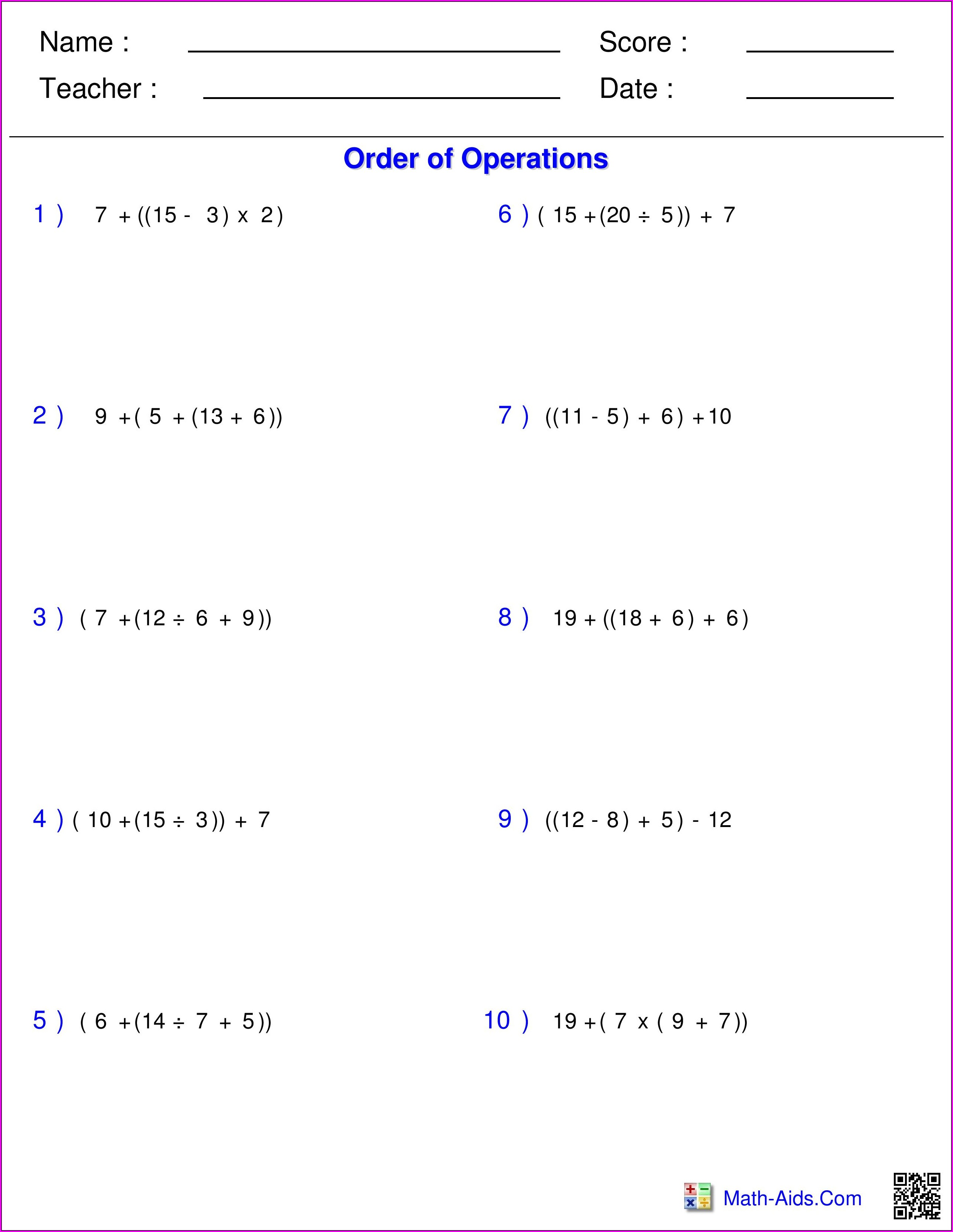 Answer Key Order Of Operations Worksheet Pdf 5th Grade