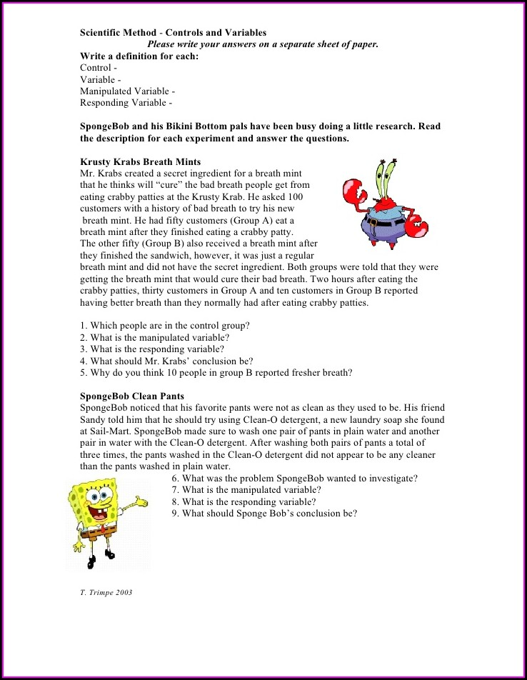 Answer Key Scientific Method Review Worksheet Answers