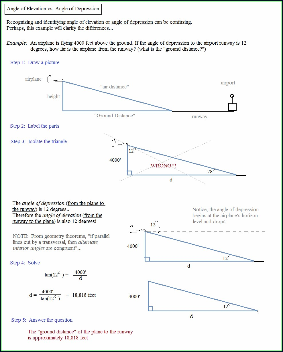 Applications Of Trigonometry Word Problems Worksheet Answers