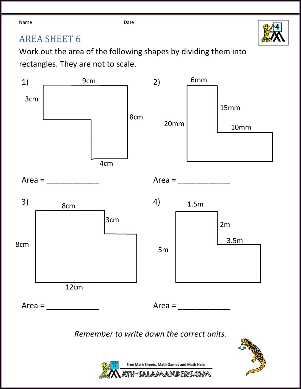 Area Of Irregular Shapes Worksheet 7th Grade