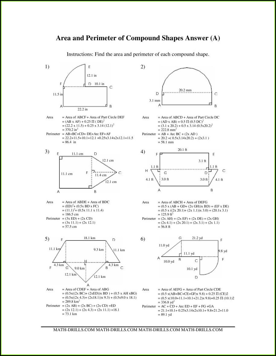 Area Of Irregular Shapes Worksheet With Answers