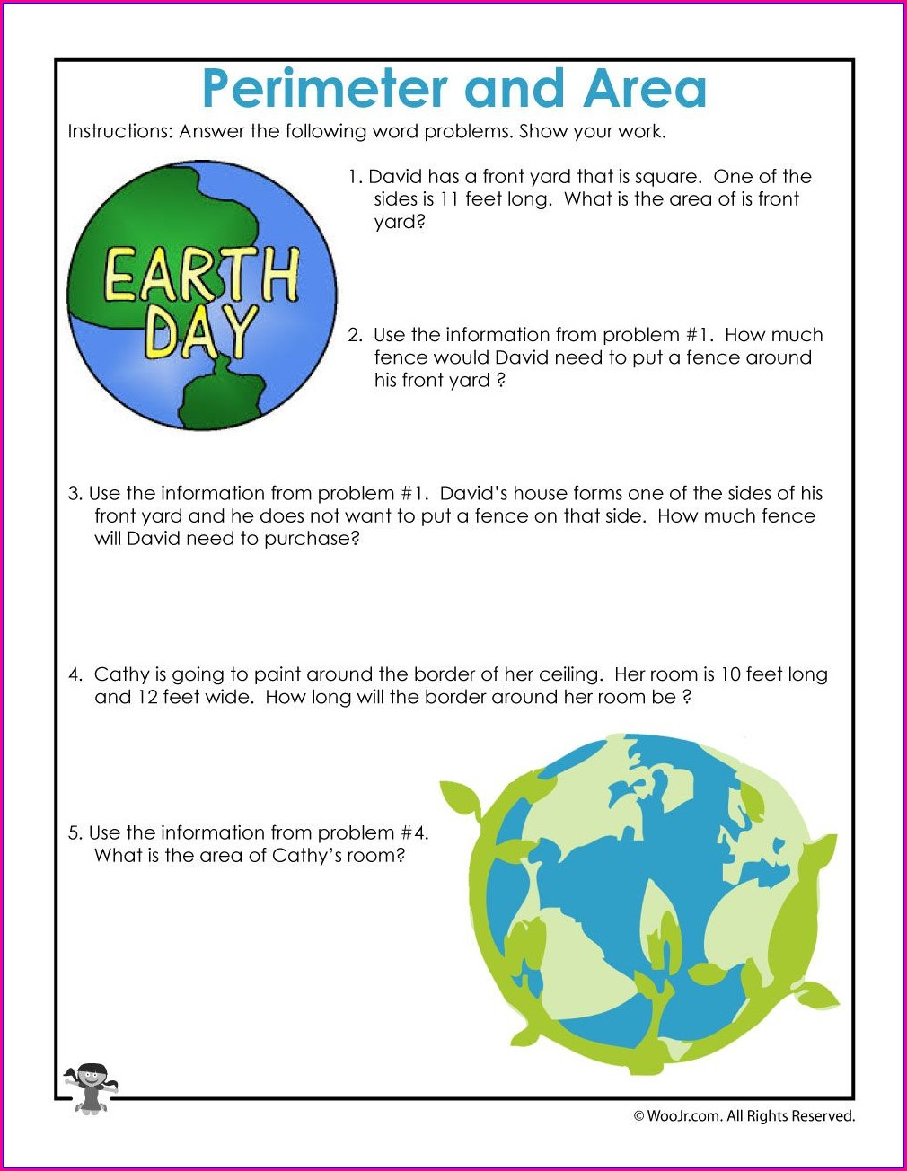 Area Word Problems Worksheets