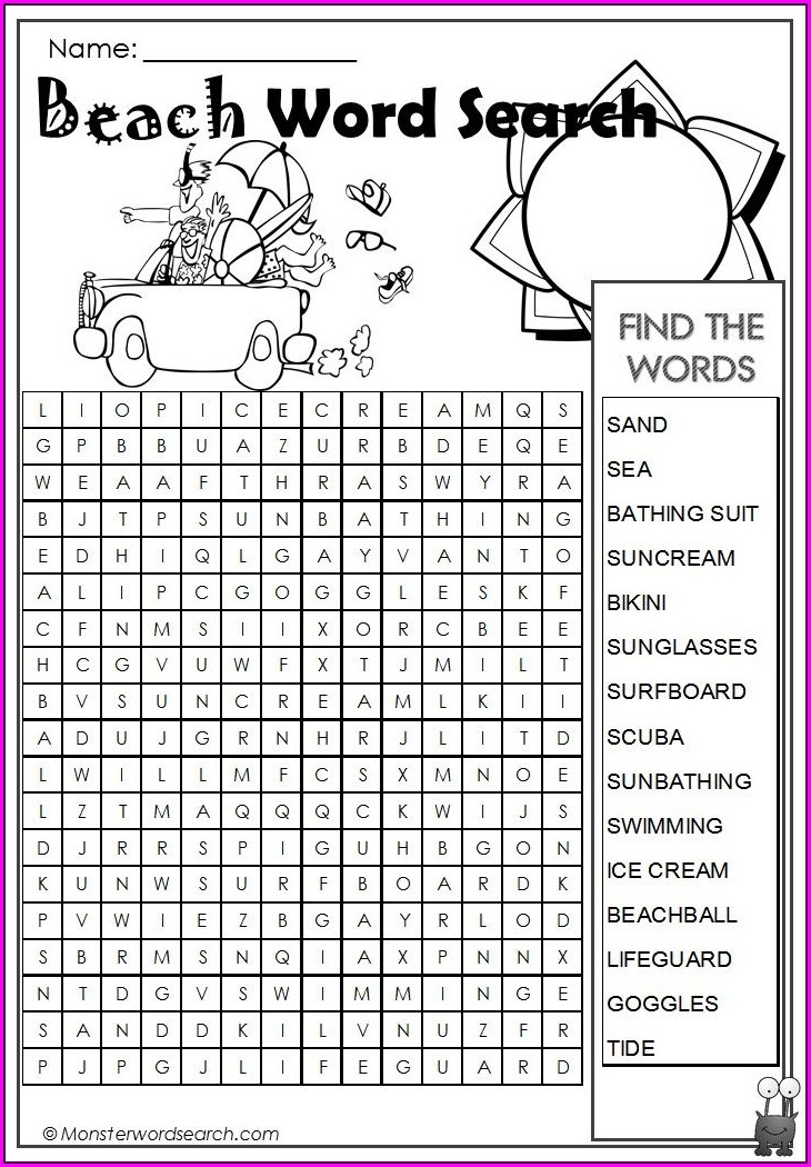 Beach Printable Beach Word Search For Kids