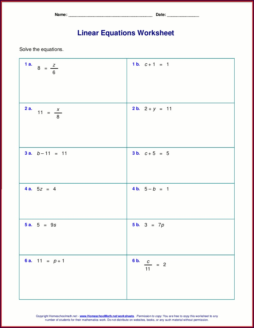 Beginner Algebra Worksheets Year 7