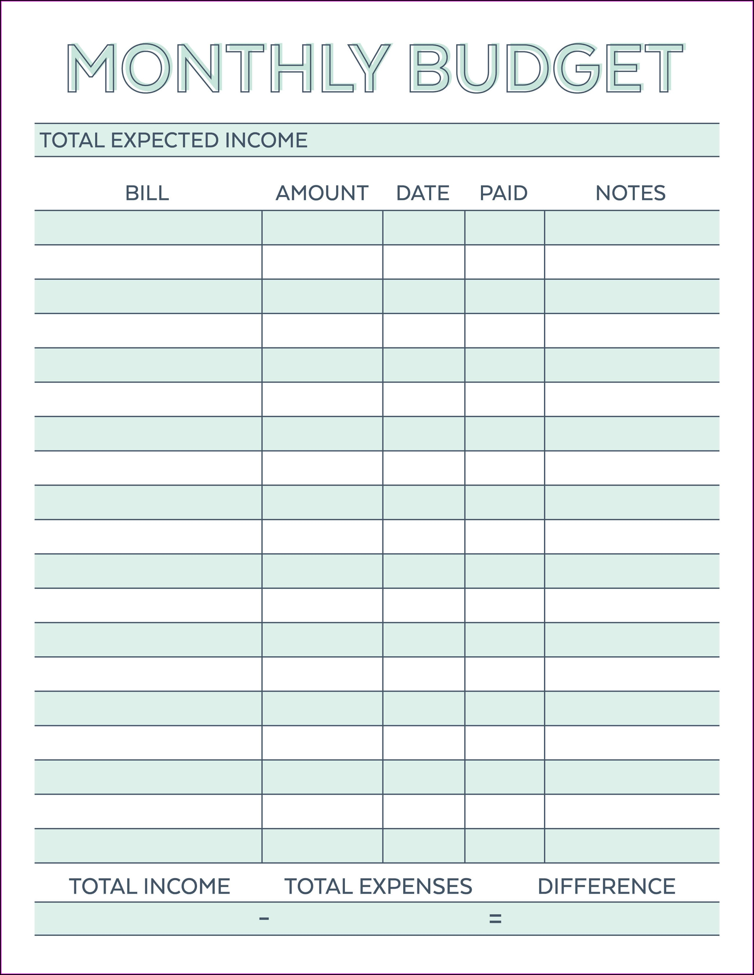 Beginner Blank Weekly Budget Worksheet Printable