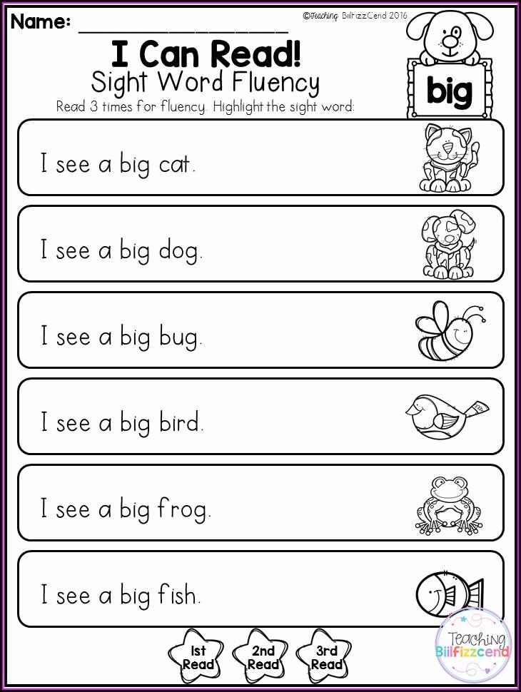 Beginner Kindergarten Sight Word Sentences Worksheets