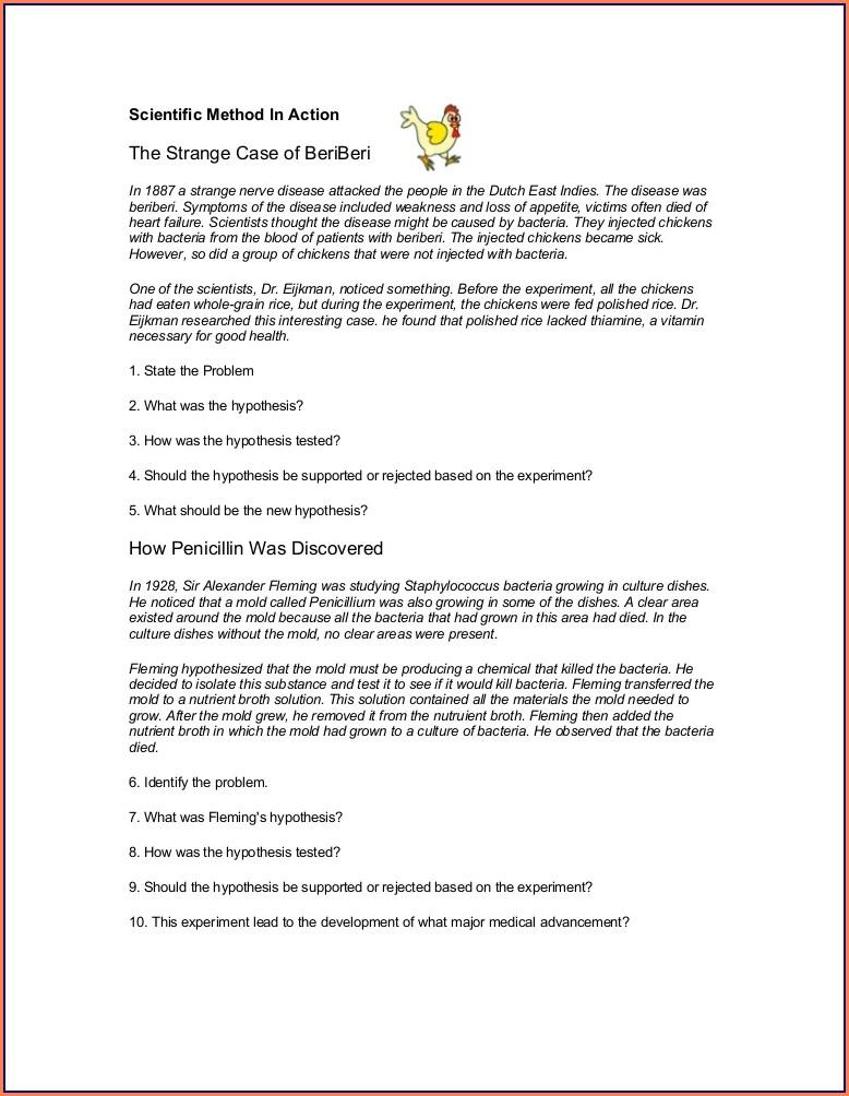 Beriberi Scientific Method Worksheet Answers