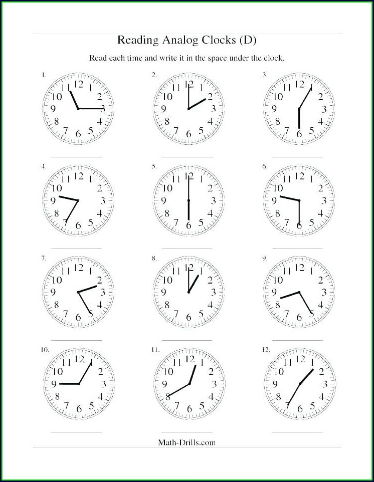 Blank Free Printable Telling Time Worksheets