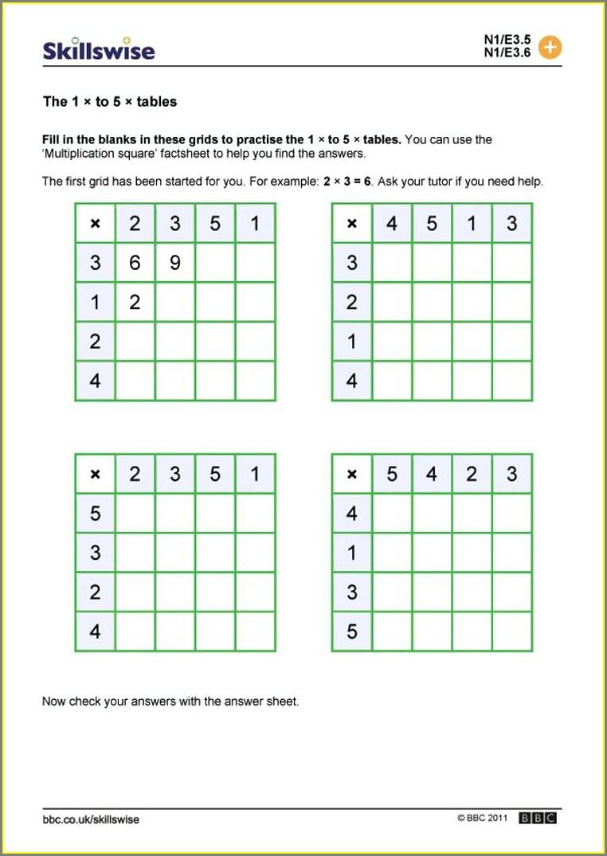 Blank Times Table Worksheet Printable