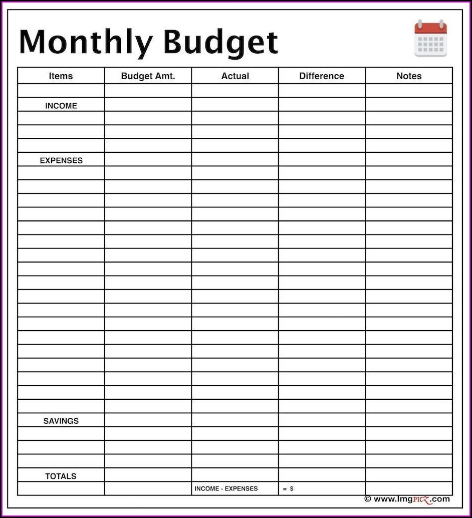 Blank Weekly Budget Worksheet Printable