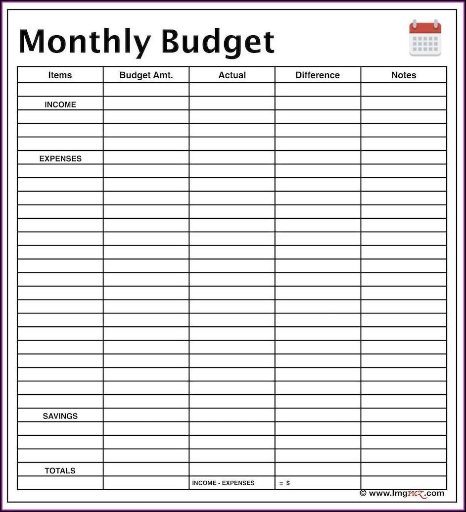 Blank Weekly Budget Worksheet Printable