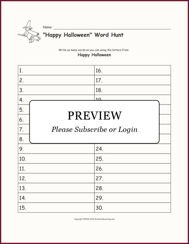 Blank Word Hunt Worksheet
