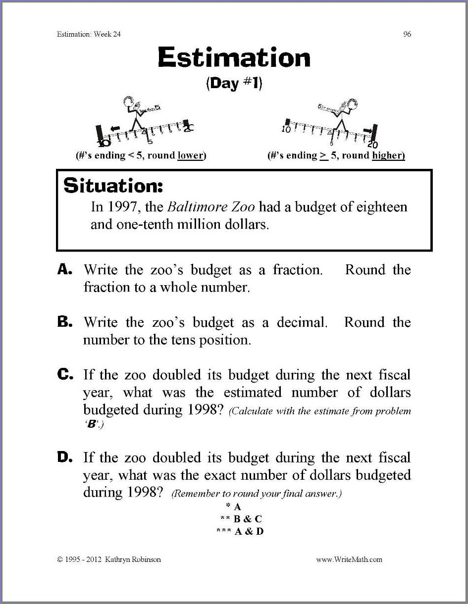 Budget Worksheet 4th Grade
