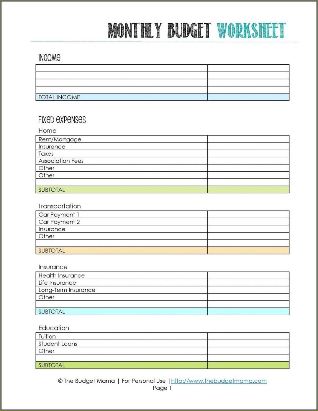 Budget Worksheet Suze Orman