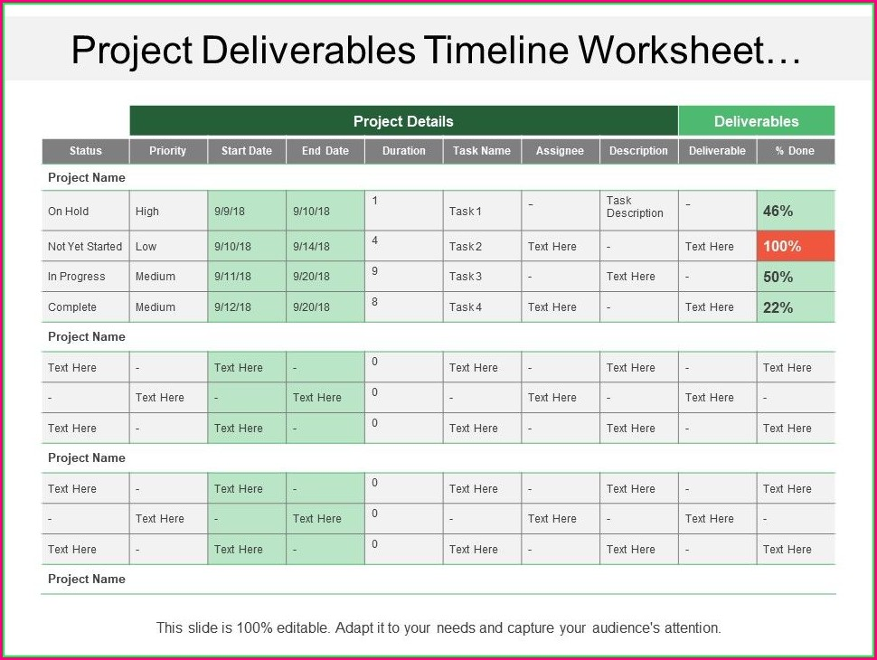 Business Process Timeline Worksheet