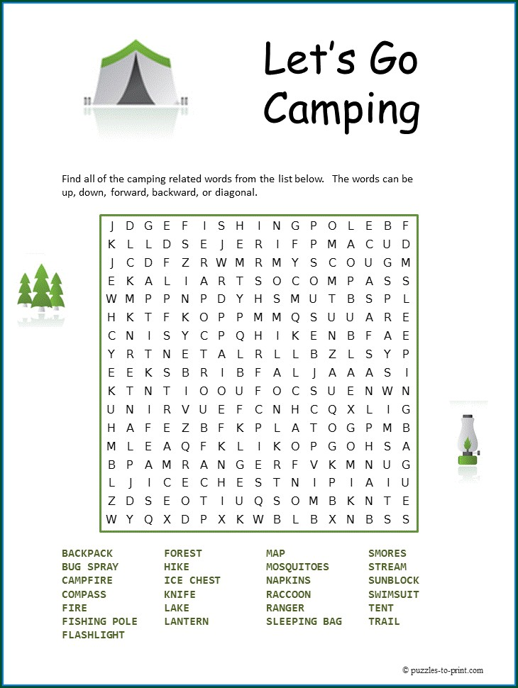 Camping Printable Camping Word Search For Kids