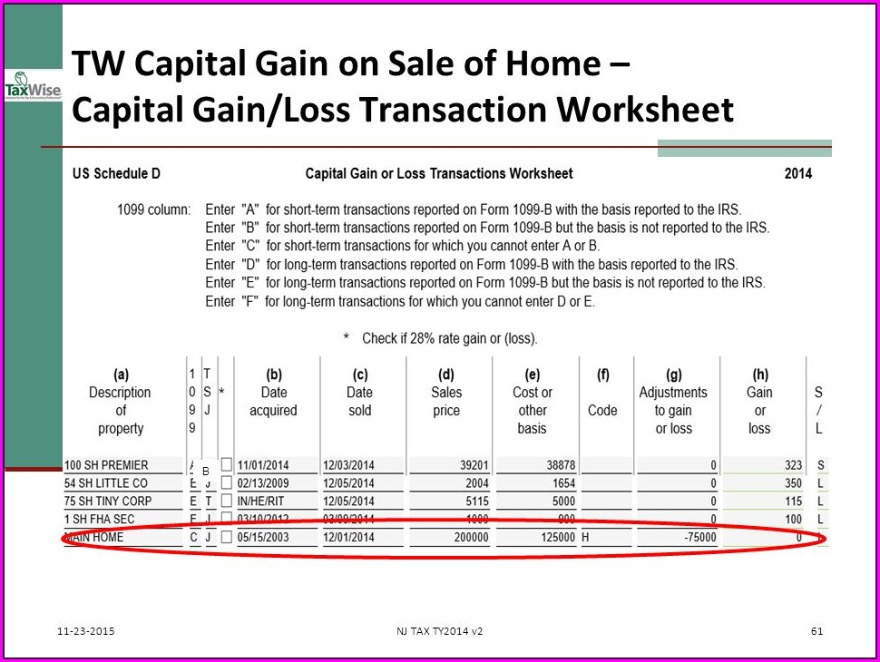 Capital Gains Worksheet Codes