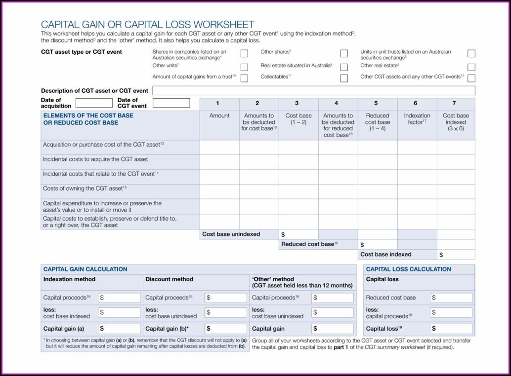 Capital Gains Worksheet Shares