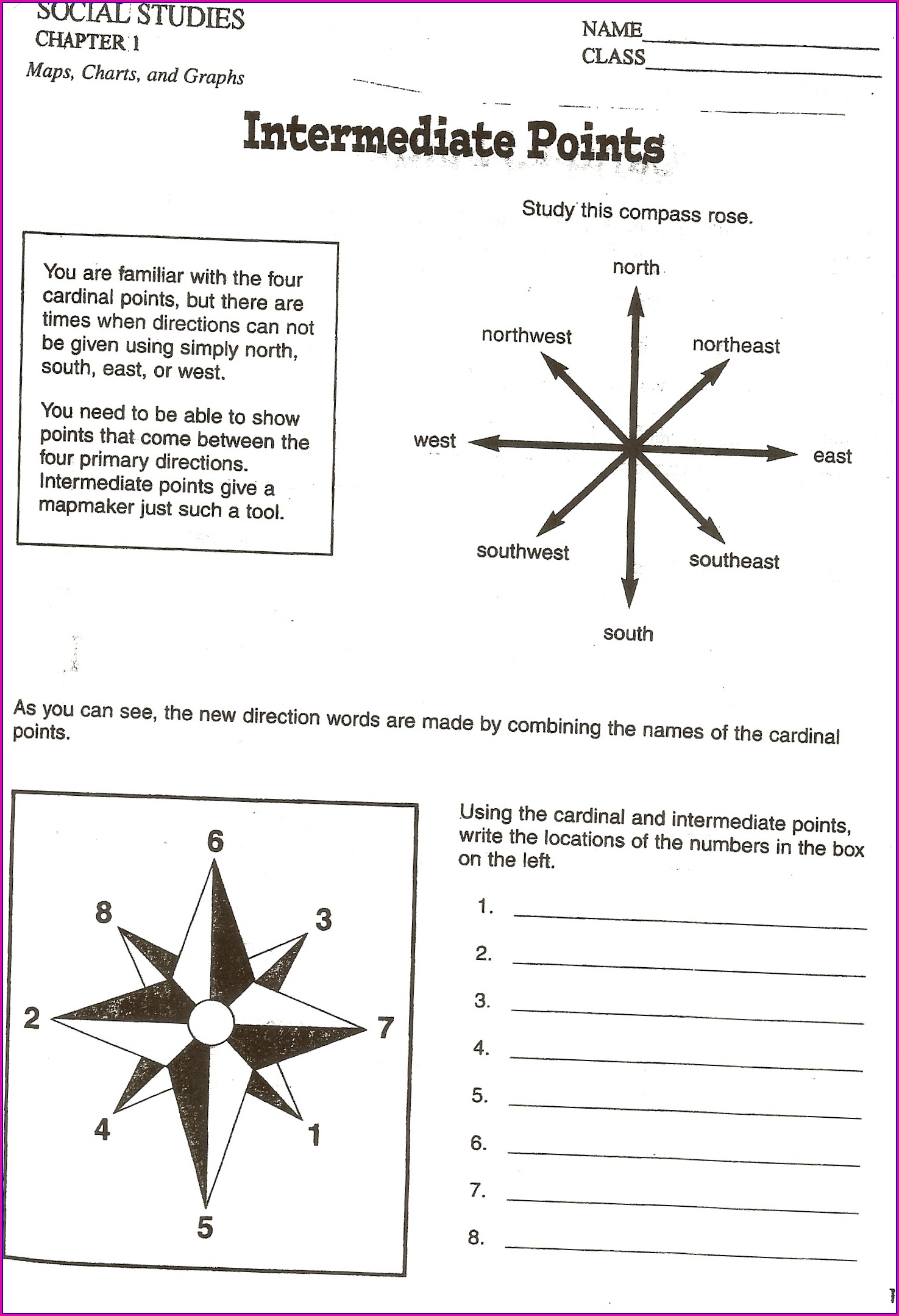 Cardinal And Intermediate Directions Worksheet 5th Grade