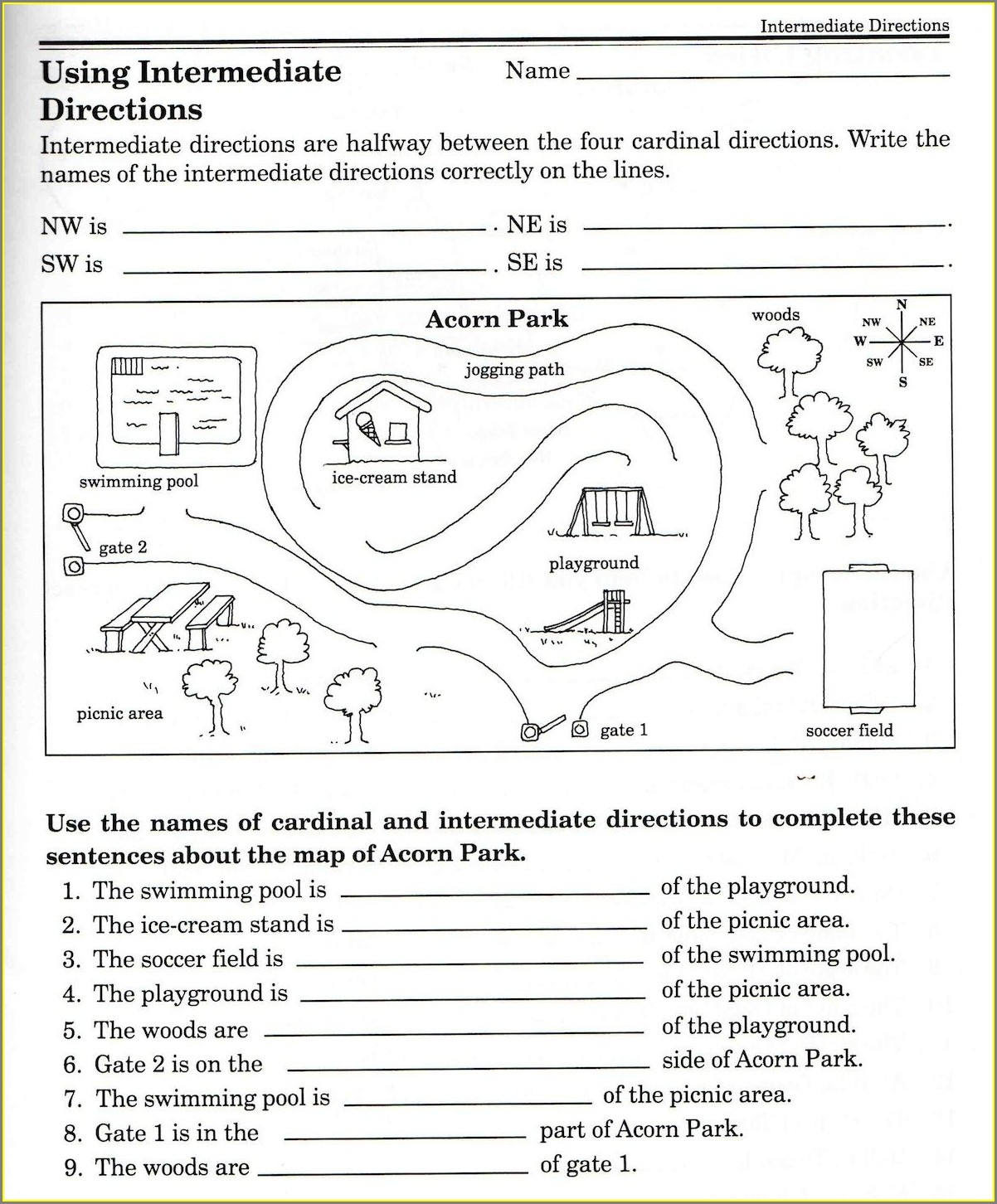 Cardinal Directions Worksheet 6th Grade
