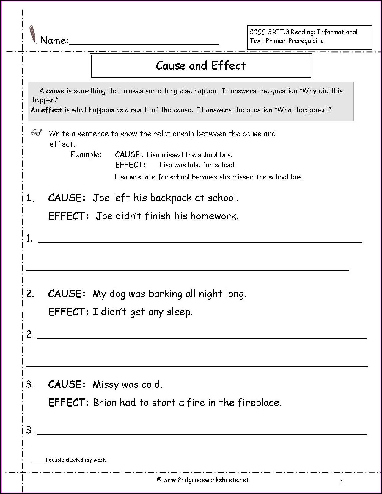 Cause And Effect Worksheets 5th Grade Free Printable