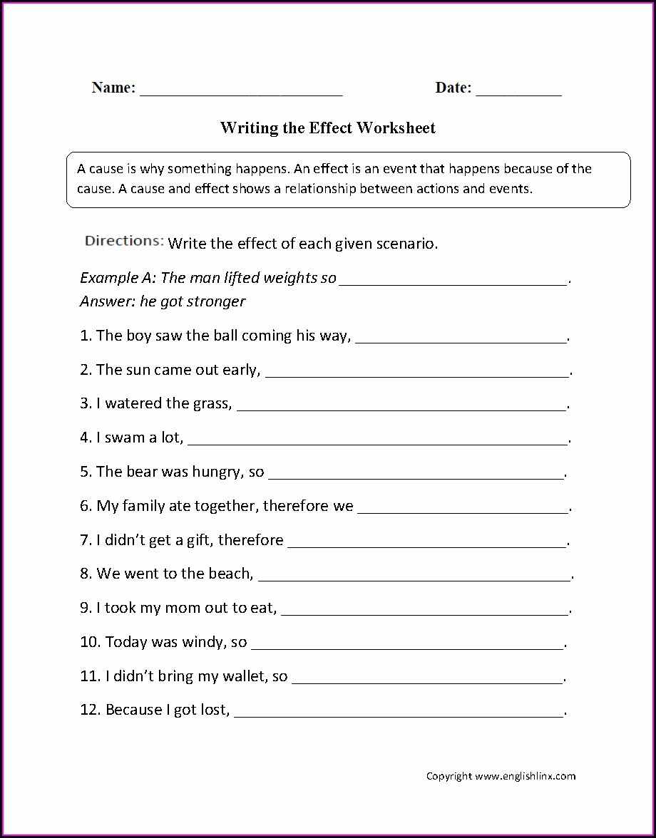 Cause And Effect Worksheets 5th Grade Pdf