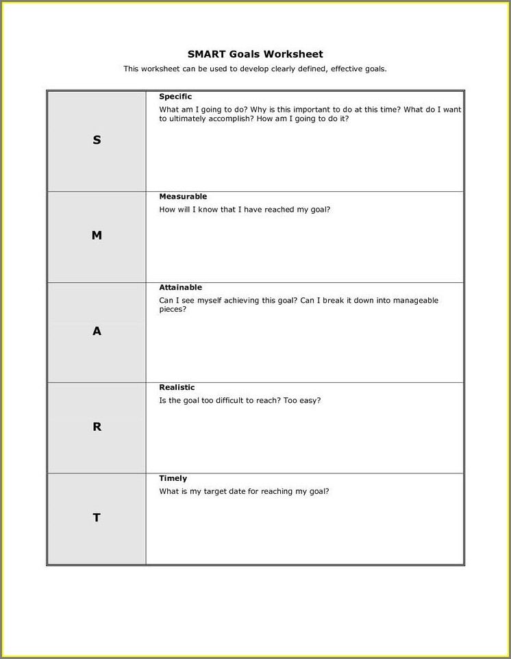 Cbt Goal Setting Worksheet