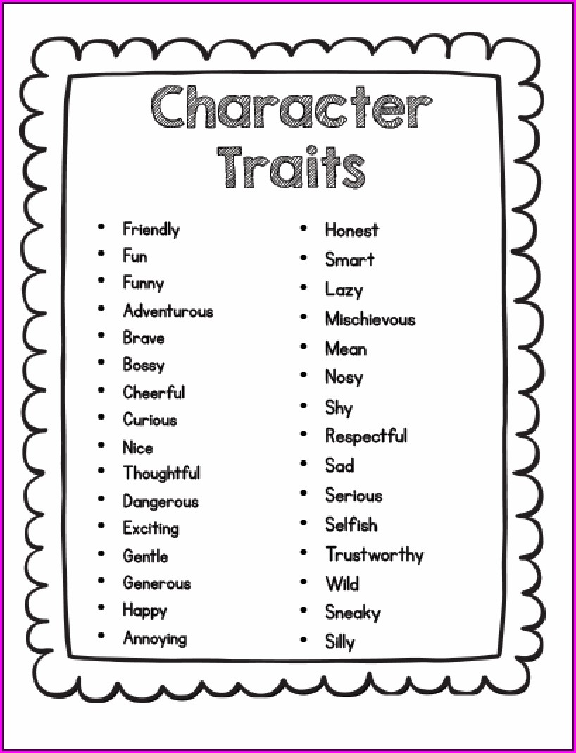 Character Traits And Feelings Worksheet For Grade 1