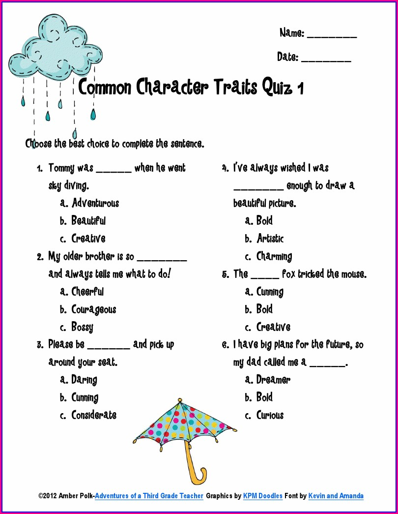 Character Traits Worksheet For 3rd Graders