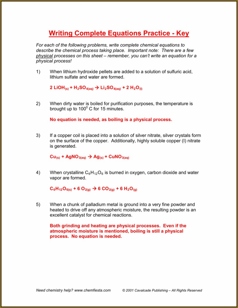 Chemical Word Equations Worksheet With Answers