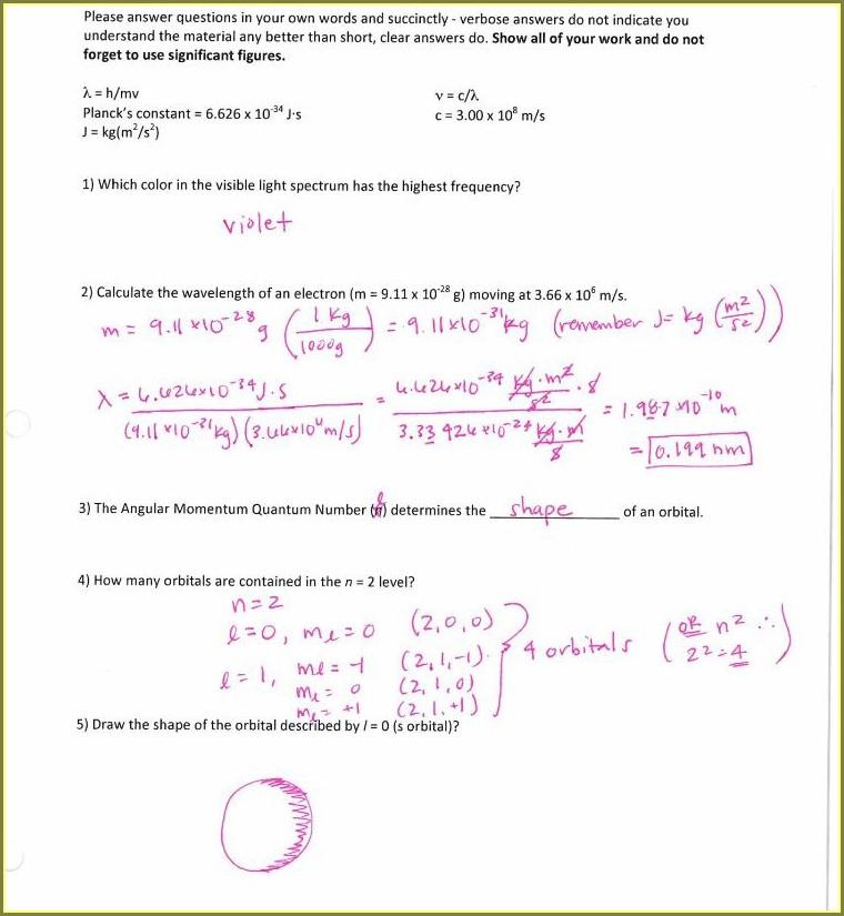 Chemistry Quantum Numbers Worksheet