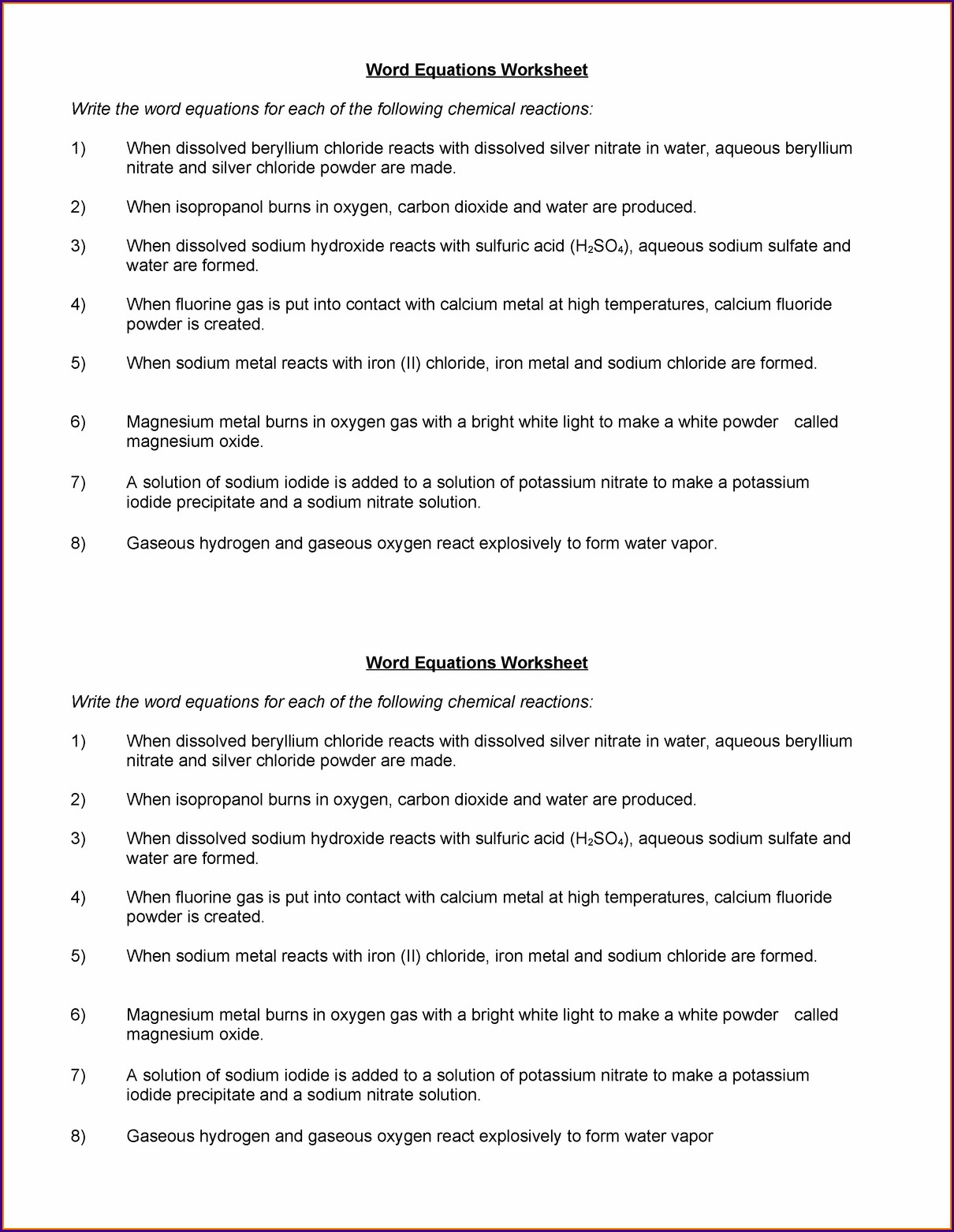 Chemistry Word Equations Worksheet