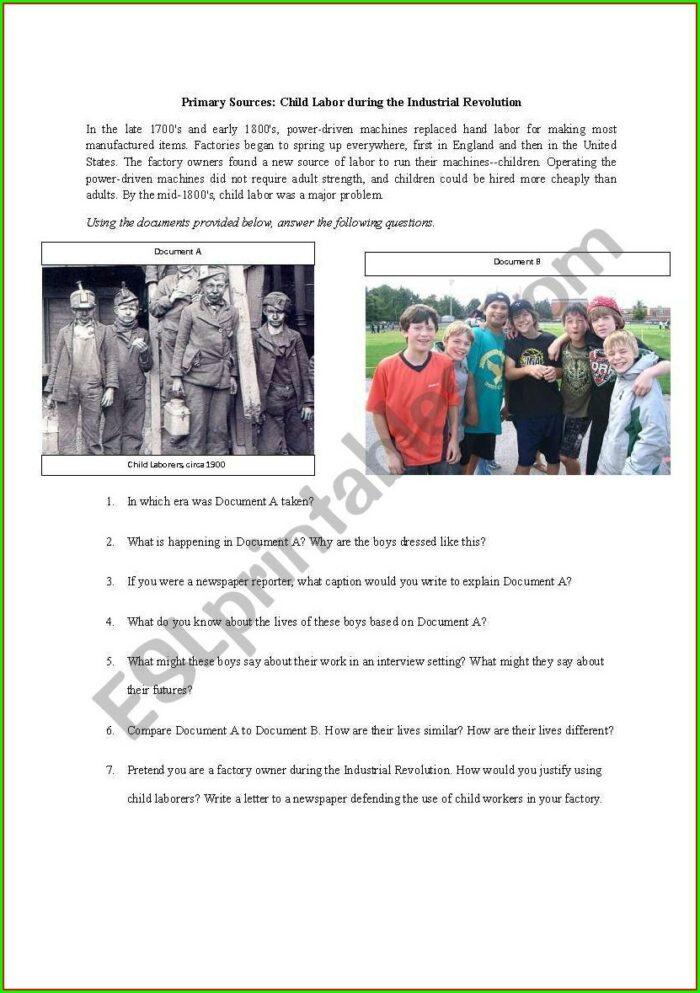 Child Labor During The Industrial Revolution Worksheet