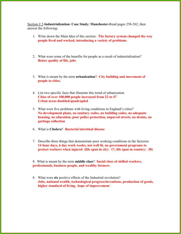 Child Labor During The Industrial Revolution Worksheet Answer Key