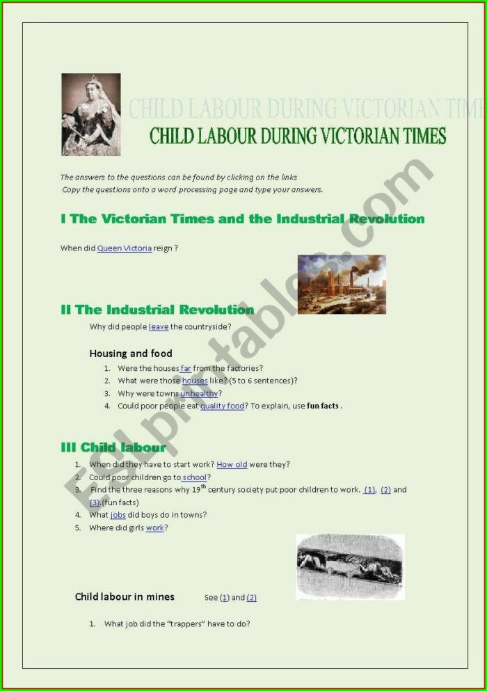 Child Labor During The Industrial Revolution Worksheet Answers