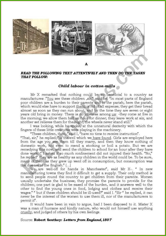 Child Labor Worksheets Industrial Revolution Pdf