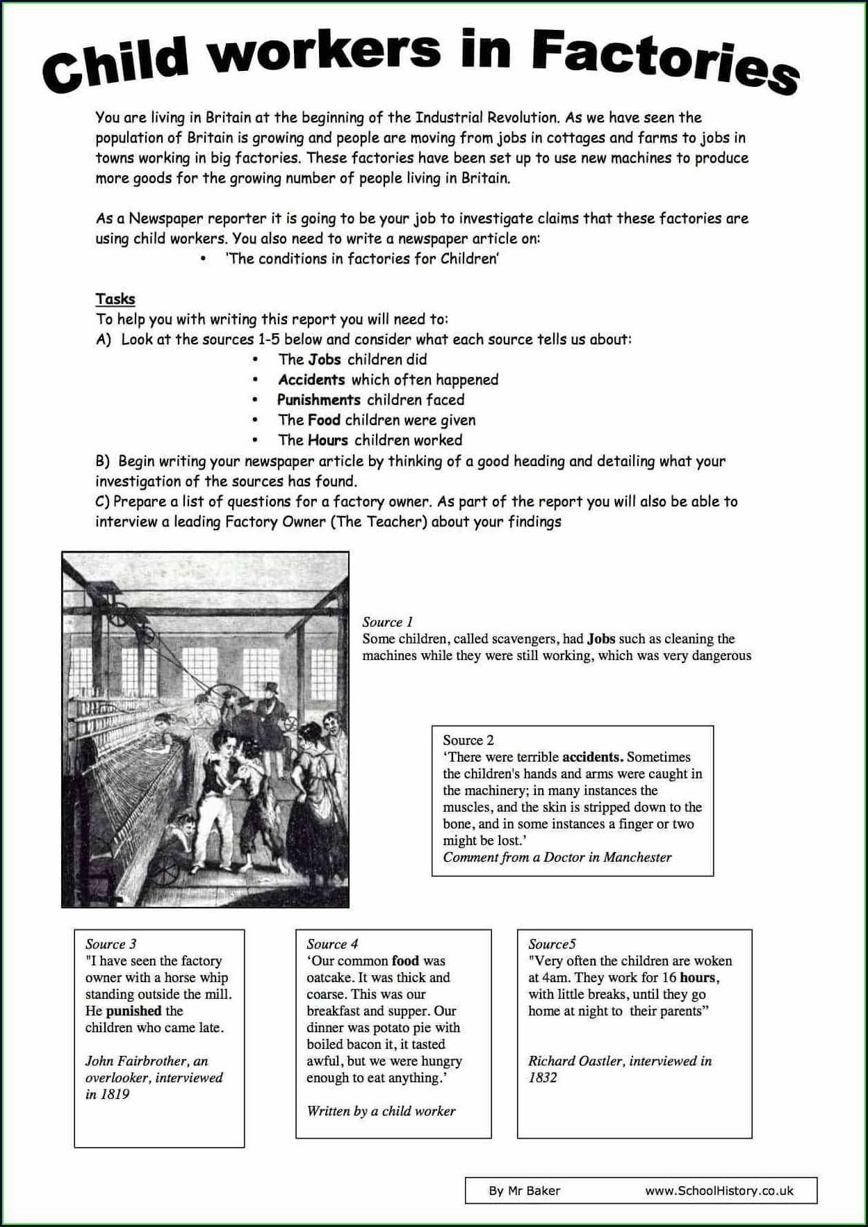 Child Labour Worksheet Pdf