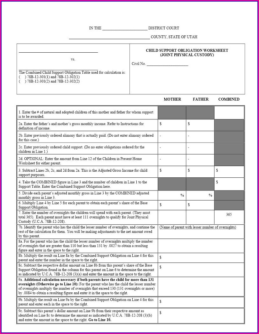 Child Support Obligation Worksheet Alabama