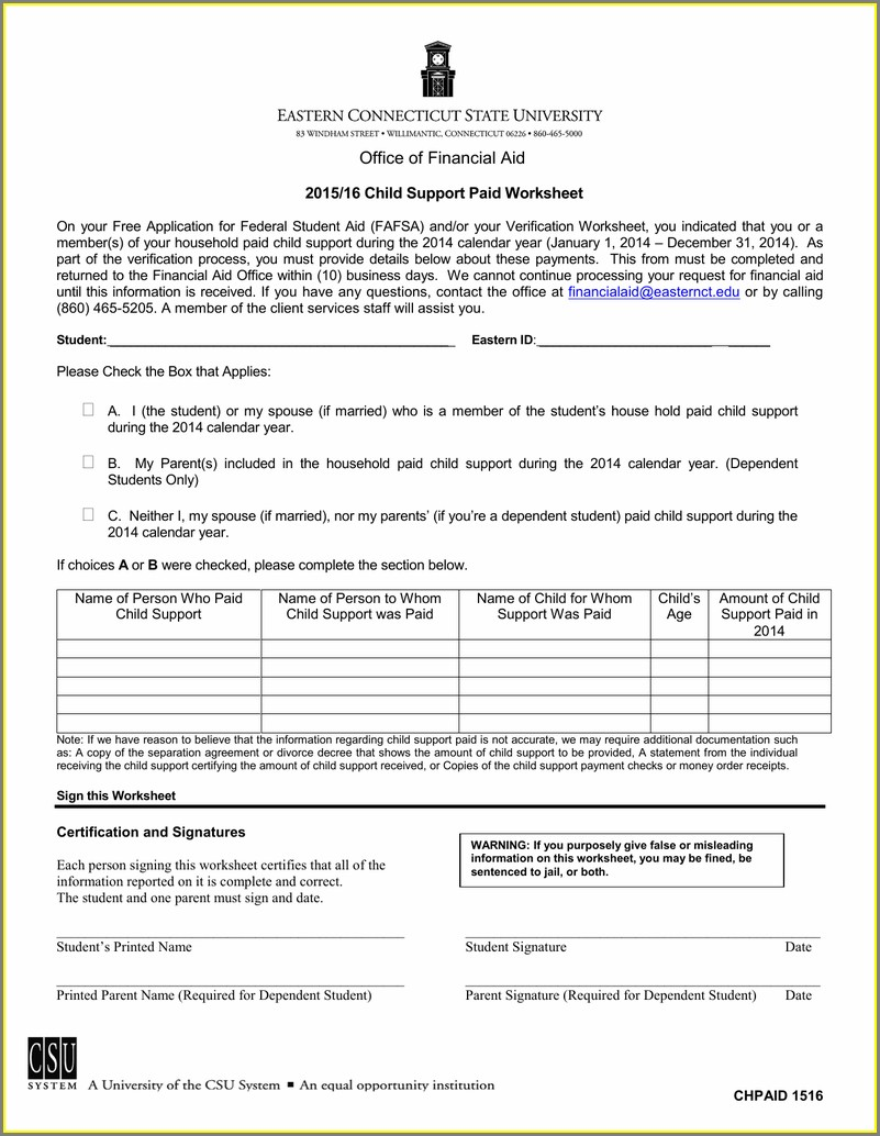 Child Support Paid Worksheet