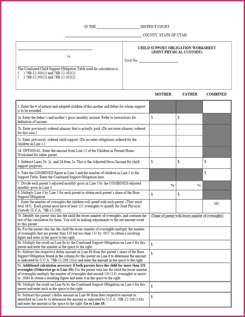 Child Support Worksheet Alabama