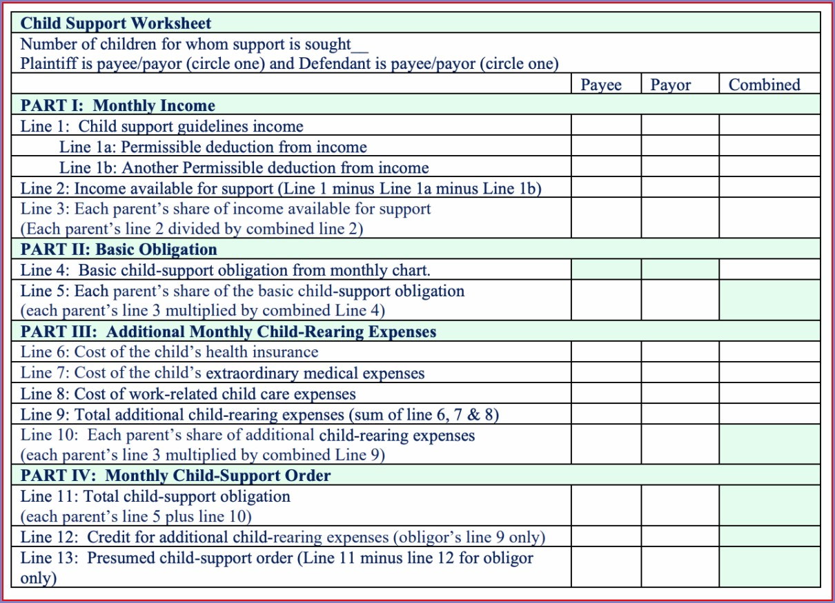 Child Support Worksheet Arkansas