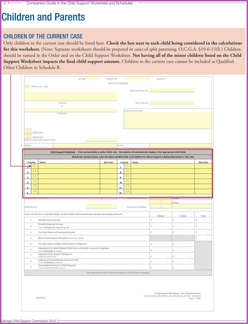 Child Support Worksheet Csc Data Entry Form