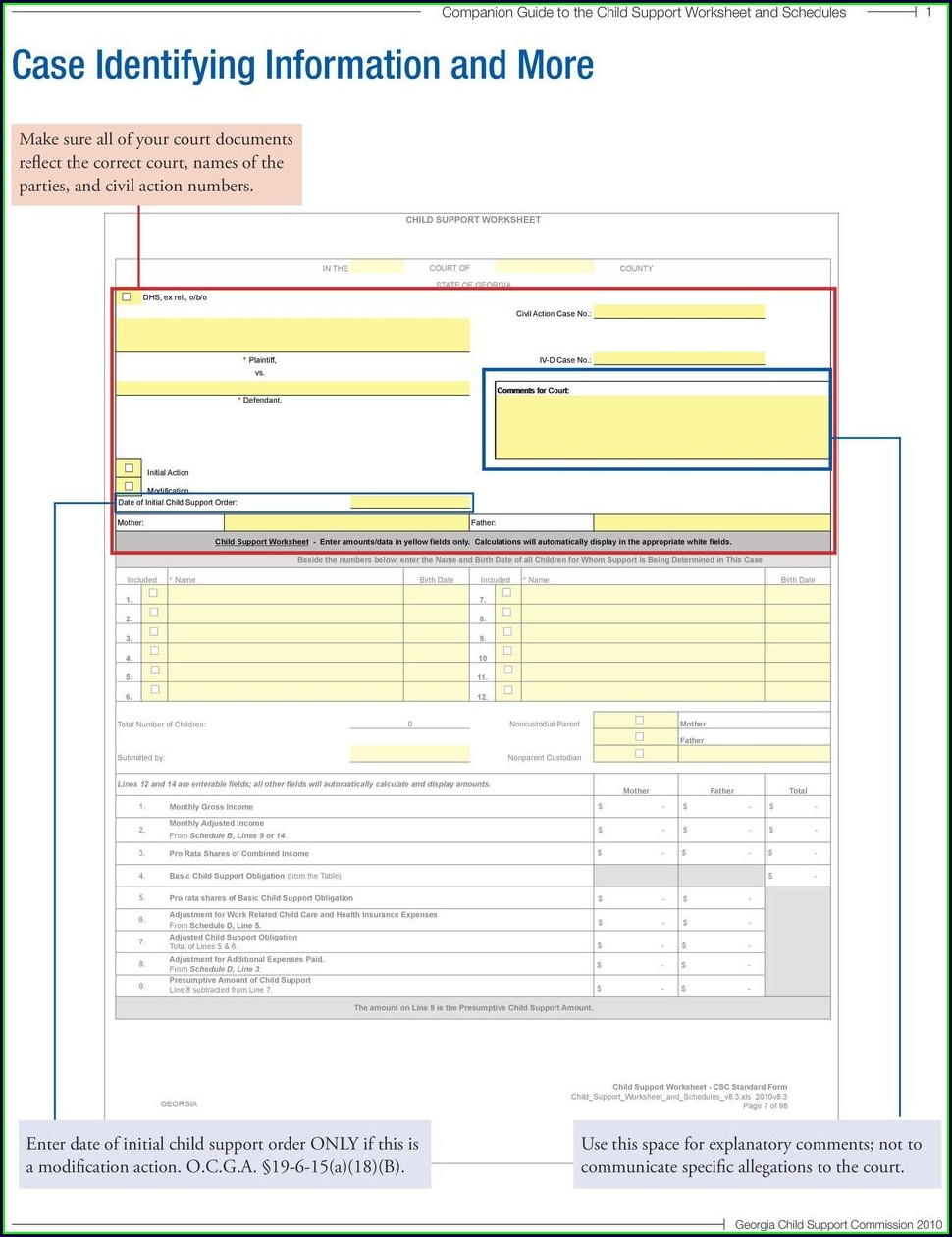Child Support Worksheet Dekalb County