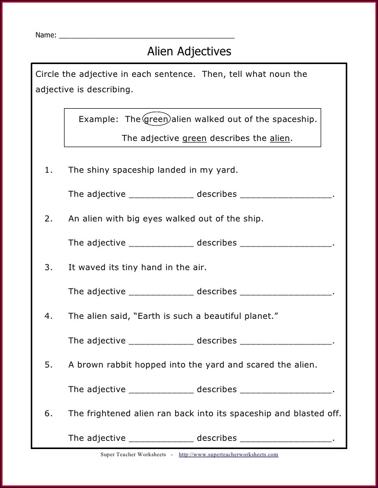 Circling Adjectives Describing Words Worksheet For Grade 1