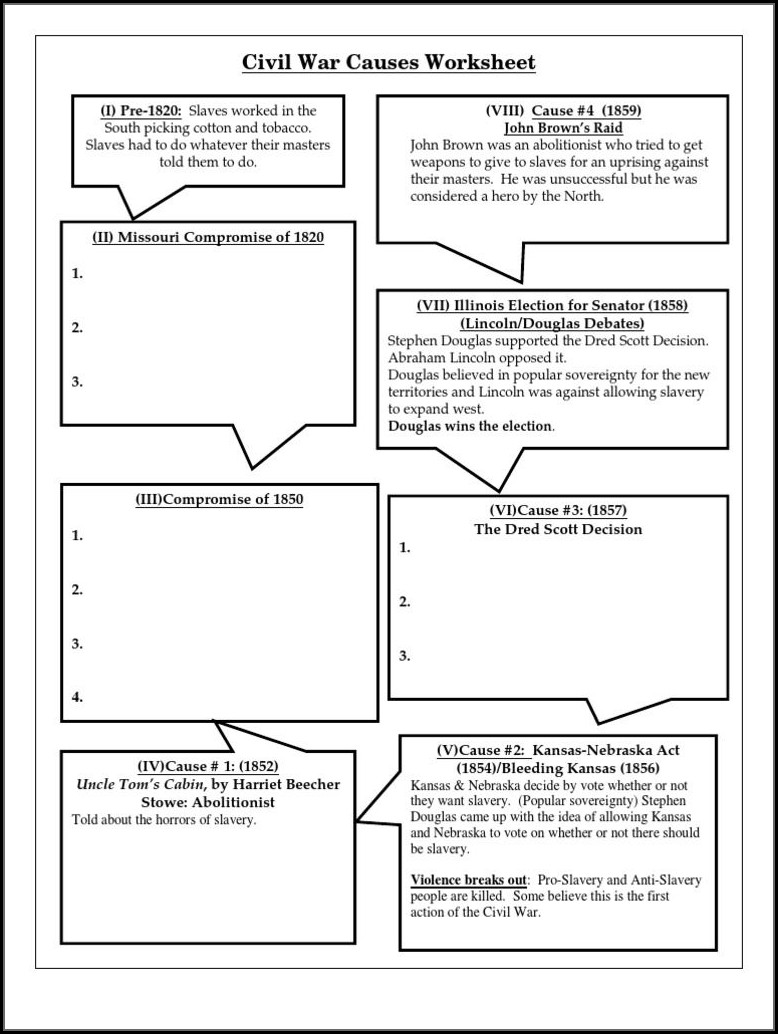 Civil War Timeline Worksheet Pdf