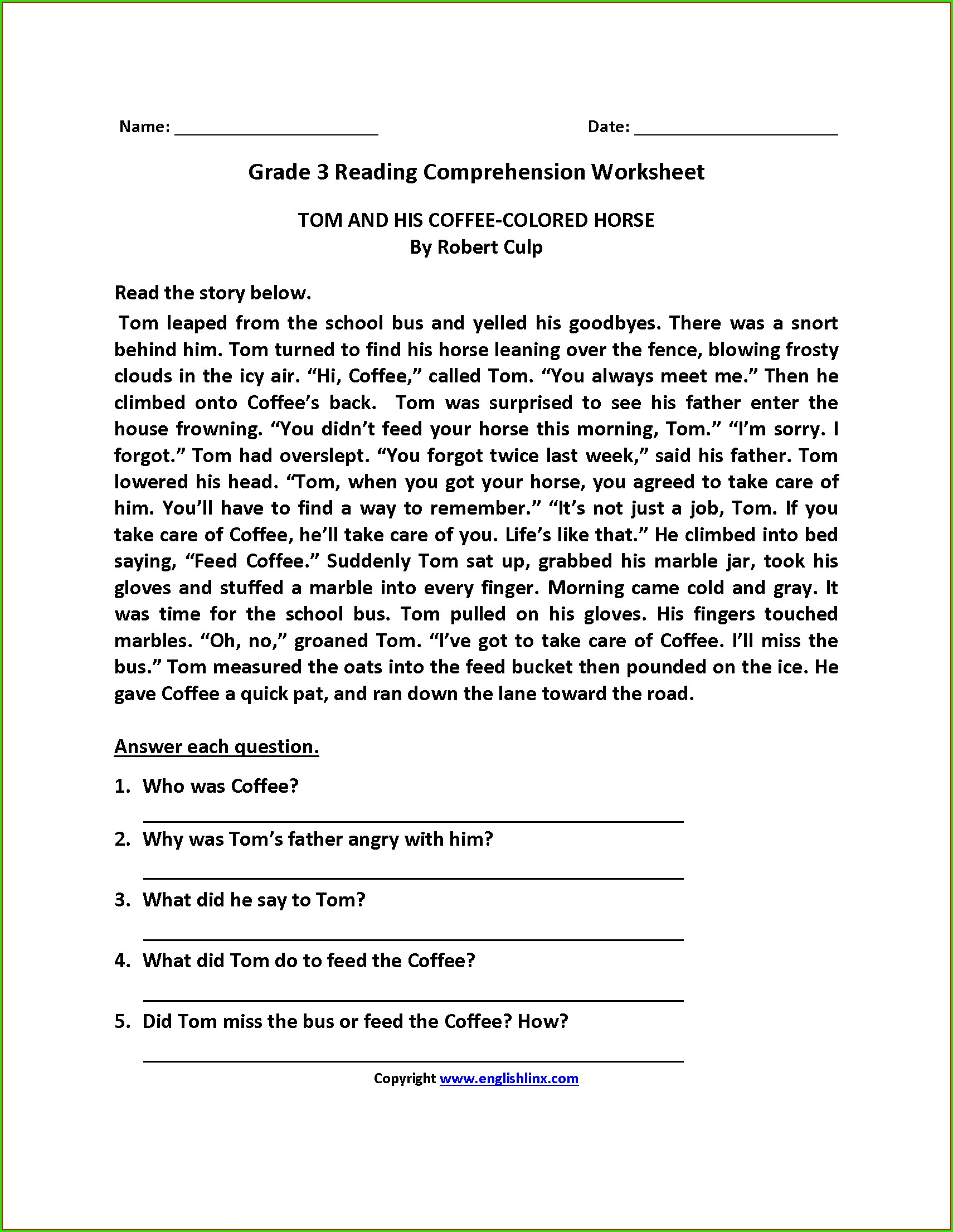 Class 3 Grade 3 English Comprehension Worksheets