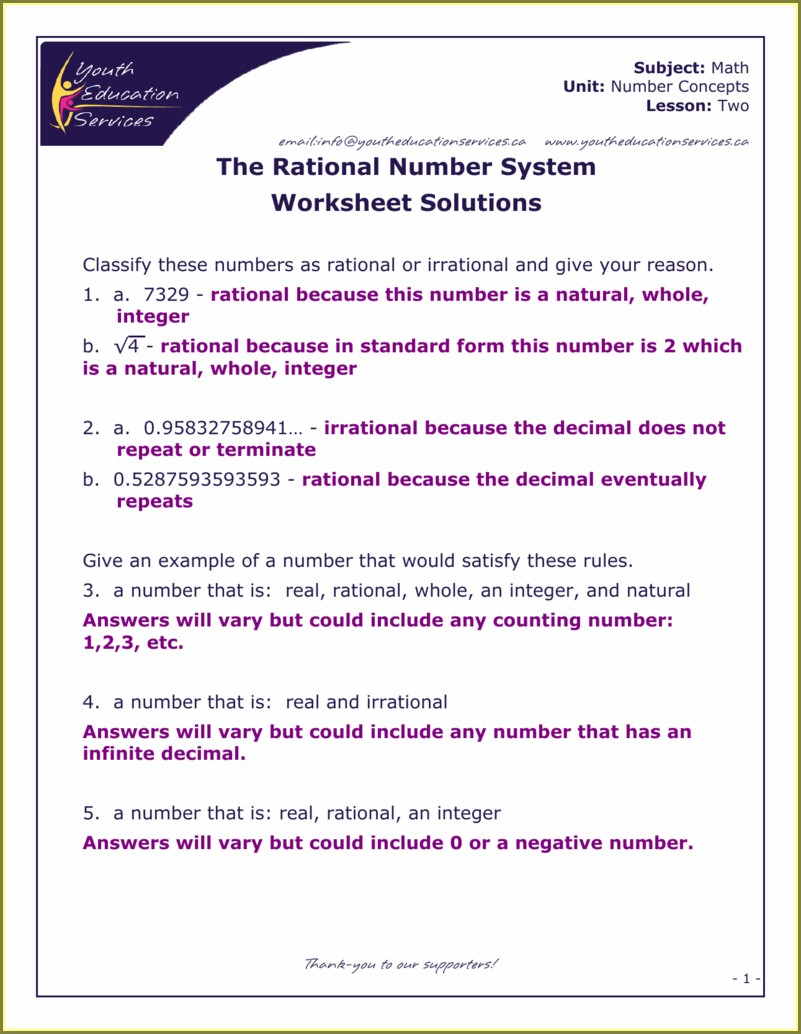 Classifying Rational And Irrational Numbers Worksheet Answer Key